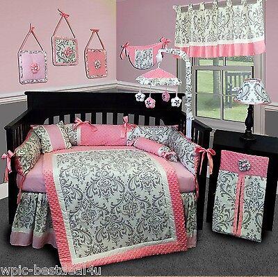 Baby Boutique - Grey Damask - 14 pcs Crib Bedding Set incl. Lamp Shade
