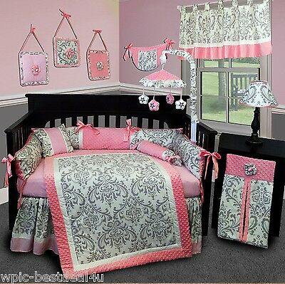 Baby Boutique - Grey Damask - 13 pcs Crib Bedding Set