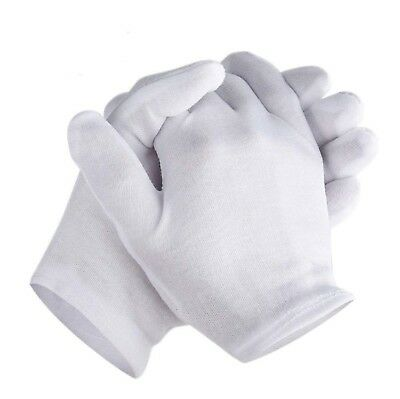 White Cotton Gloves For Dry Hands Medium Size Eczema Men Women Thin 6 Pairs New
