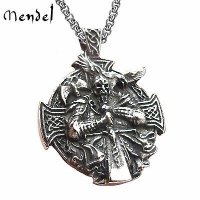 MENDEL Mens Stainless Steel Viking Norse Axe Odin Raven Cross Pendant Necklace