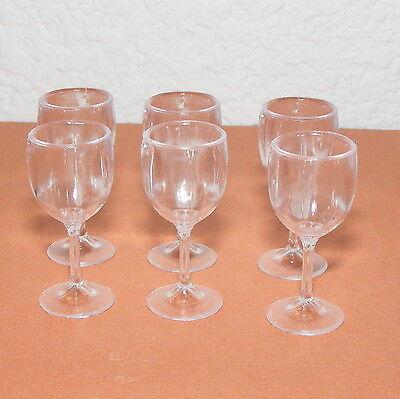 "Wine Glasses, 6 barbie Size, 1 3/8"", Plastic, Size 1:6, Miniature"