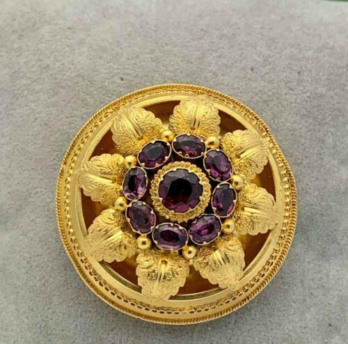 14K Gold Etruscan Revival Garnet Pin/Pendant- Estate, 1800s- - Hair Locket-