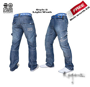 Mens Jeans Crosshatch Designer Combat Cargo style Denim  Classic Straight Fit