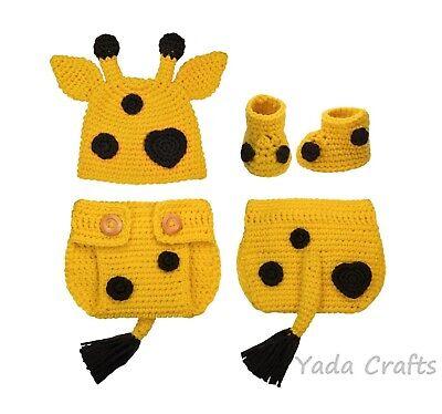 Crochet Giraffe newborn Baby outfit set,Halloween Costume baby shower photo prop](Halloween Baby Showers)