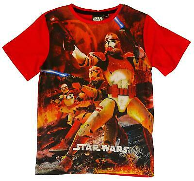 Boys Star Wars Stormtrooper T-Shirt Red Cotton Top 4 to 10 Years