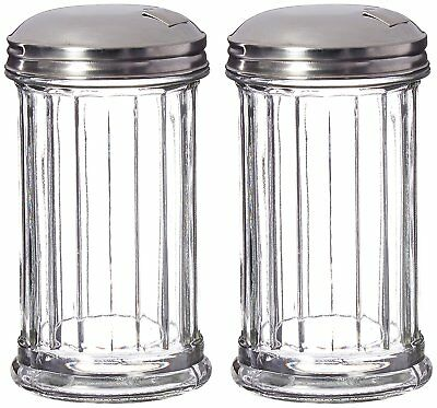 Glass Sugar Dispenserpourershaker Stainless Steel Lid 12 Oz Set Of 2
