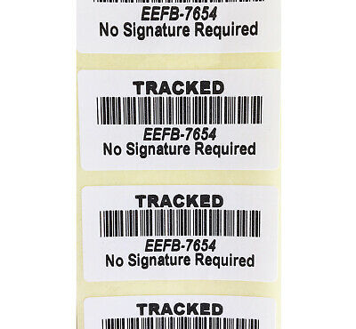 100 x white tracked barcode fake postal stickers theft deterrent labels tracking