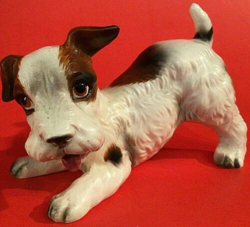 JACK RUSSELL TERRIER DOG LEFTON JAPAN VINTAGE CROUCHING PORCELAIN