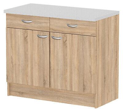 Credenza mobile cucina madia moderna 2 ante cassetti legno marrone 98x50x85 h