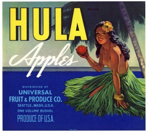 HULA Brand Vintage, Hawaiian, Girl, pinup ***AN ORIGINAL APPLE CRATE LABEL***
