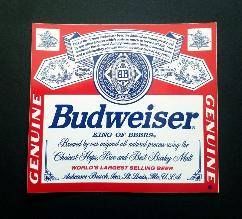 1 New Budweiser vinyl decal beer sticker toolbox truck bar laptop bumper.