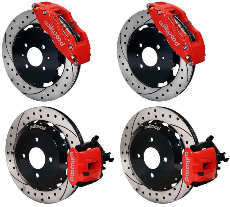 "Wilwood Disc Brake Kit,honda Civic,10735,10207,12"" Drilled Rotors,red,6 Piston F"