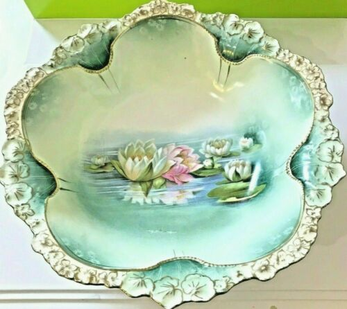 Large Antique RS PRUSSIA Blue-Green Bowl, Pink and White Flowers, Gold Trim