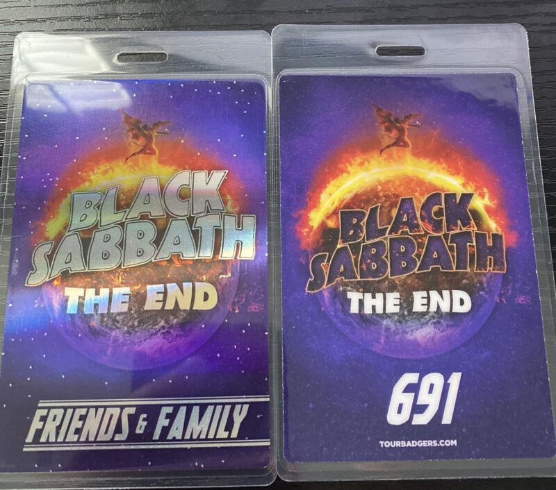 Black Sabbath The End Tour Friends & Family Laminate Pass