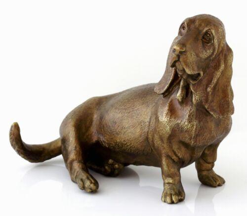 "Basset Hound Bronze Dog Statue Animal Figurine Russian Art Sculpture 5"" 2 lbs"