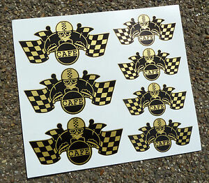 CAFE-RACER-Chequered-Flag-Helmet-set-stickers-decals-GOLD