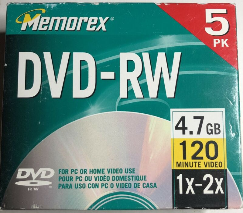 (CM) Memorex DVD-RW 5pk 1x 2x 4.7GB 120 Mins For Pc Or Home Video Recorder