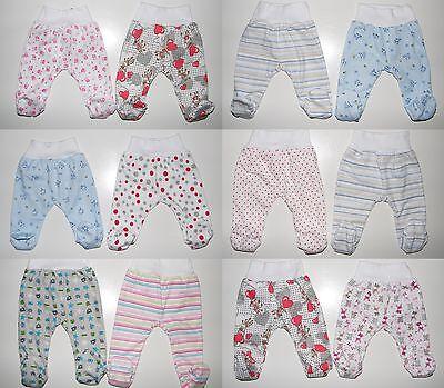 2er Pack Baby Hosen mit Fuß Schlupfhose Babyhose Gr. 56 62 68 74 80 86 Baumwolle 2er-pack Baby-hose