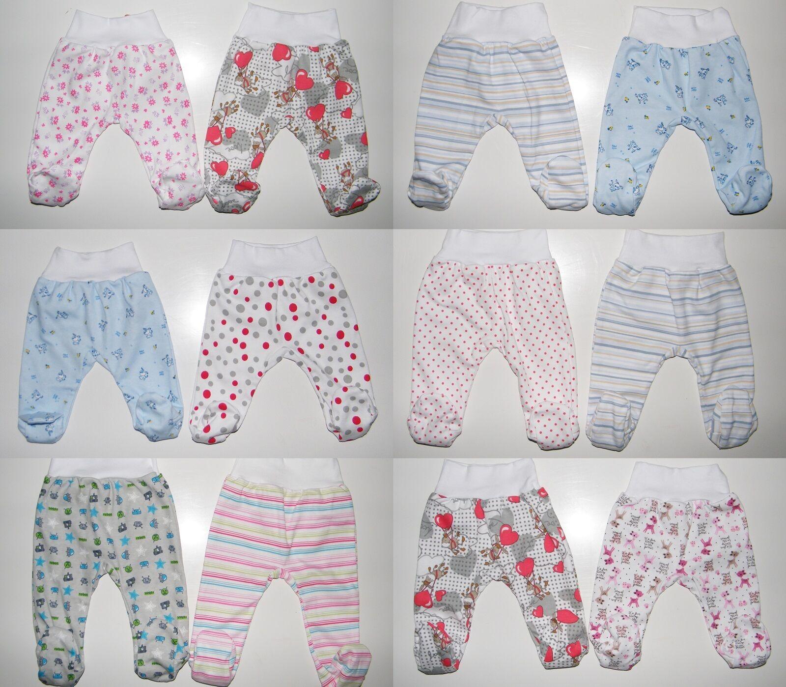 2er Pack Baby Hosen mit Fuß Schlupfhose Babyhose Gr. 56 62 68 74 80 86 Baumwolle
