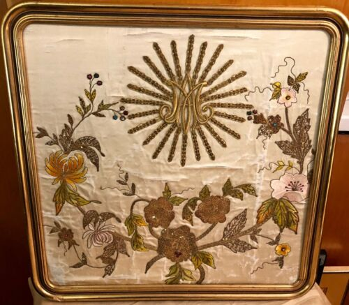 FRAMED CONVENT SILK EMBROIDERY GOLD THREAD CA.1860
