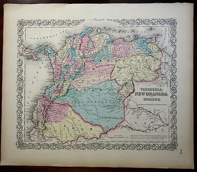 Colombia Venezuela Ecuador Mocoa South America 1855 J.H. Colton engraved map