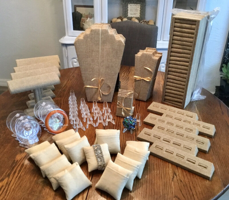 Burlap & Acrylic Jewelry Display Items Neck Forms & More Lot