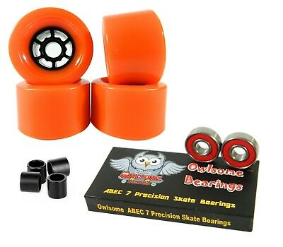 Owlsome Pro 90mm Longboard Orange Flywheels + ABEC 7 Bearings + Spacers