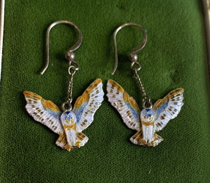 VINTAGE Sterling Silver OWL Bird Enamel Cloisonné Dangle Wire Earrings