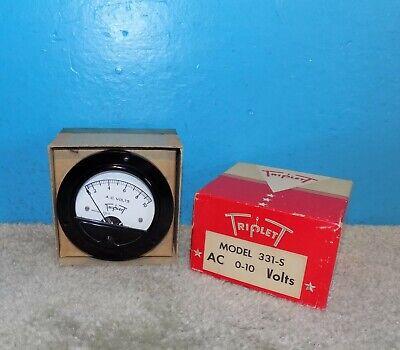 Triplett Model 331-s Ac Volts Panel Meter 0-10v 3.5 Nosnib Free Shipping