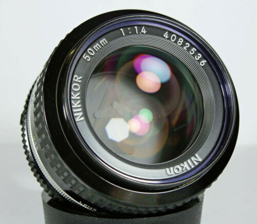 Nikon 50mm 1.4 AI Nikkor Manual Focus Prime Lens  w/ Caps Warranty *Clean*