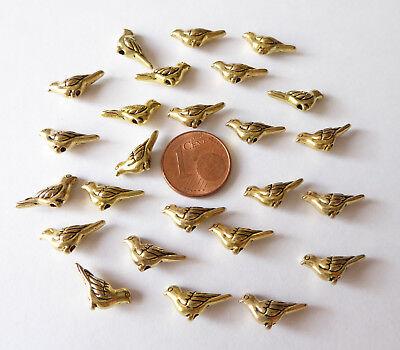 25x Perlen Metall Perle Vogel Tier Hochzeit Antik gold 7x14mm Schmuck Basteln