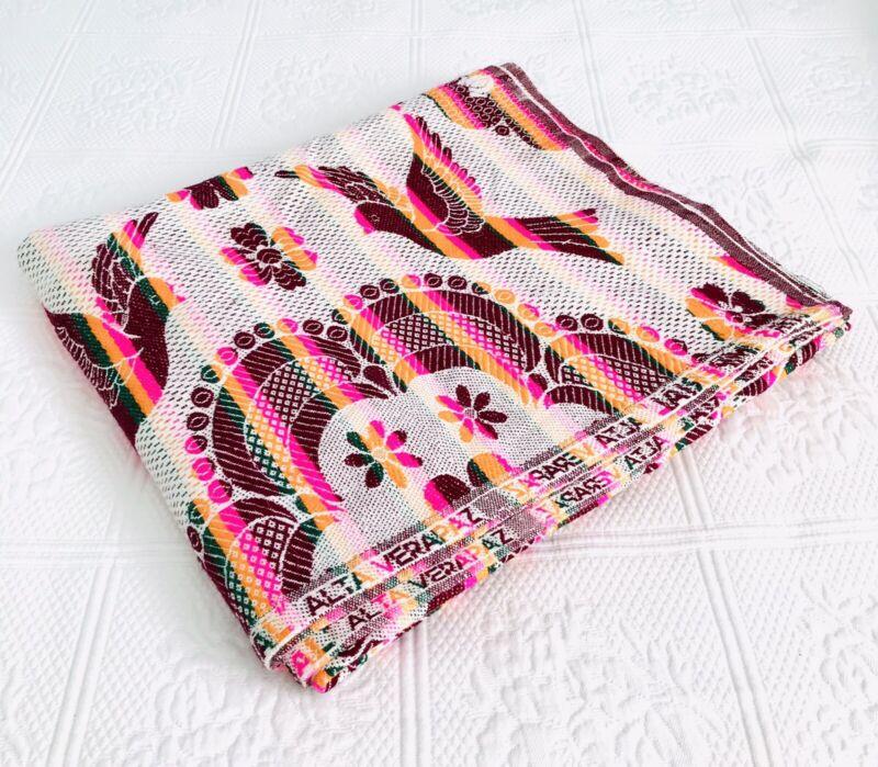 Imperial Alta Verapaz Throw Blanket Pink Orange Stripe 78 x 69 Guatemalan Serape