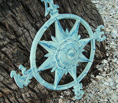 Antique Style Blue Cast Iron Nautical Ship Sailboat Sailing Compass Rose   New