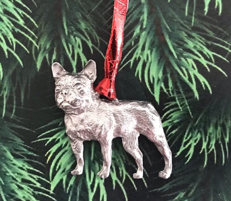 Pewter French Bulldog Dog Puppy Mack Truck Silver Metal Christmas Tree Ornament