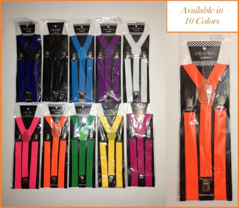 10 Colors Mens Womens Clip-on Suspenders Elastic Y-shape Adjustable Braces