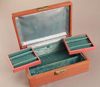 Vintage  Makeup Jewelry Box Fold Out Trays Felt Fold Out Trays