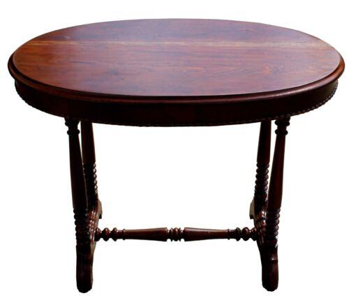 Antique Trestle-Legged Vintage Walnut Wood Oval Lamp Accent Table