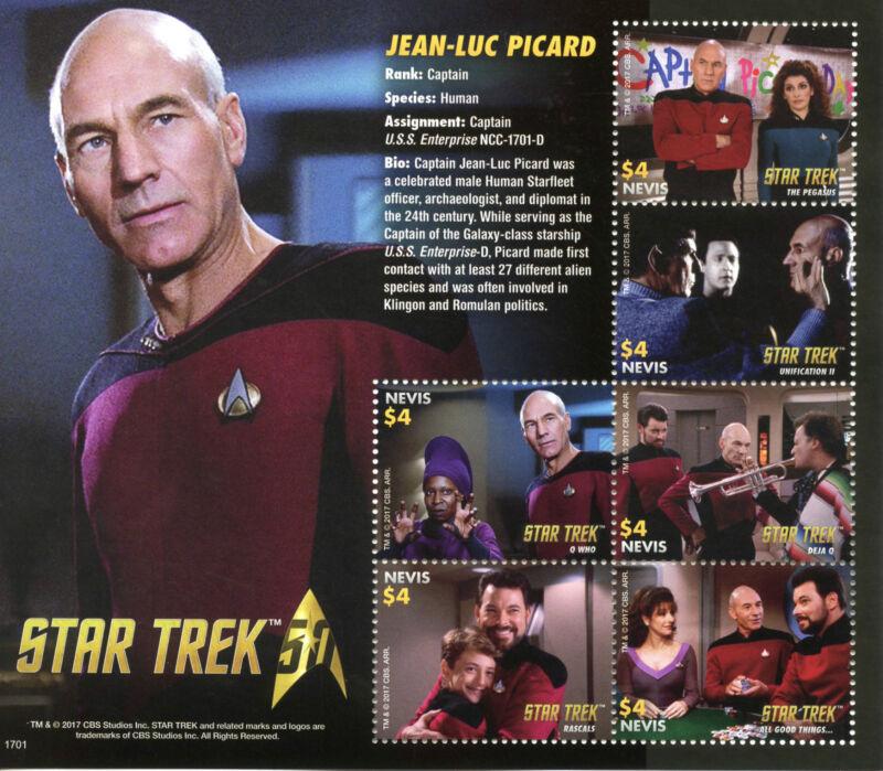 Nevis+2017+MNH+Star+Trek+50th+Ann+Jean-Luc+Picard+Next+Generation+6v+M%2FS+Stamps