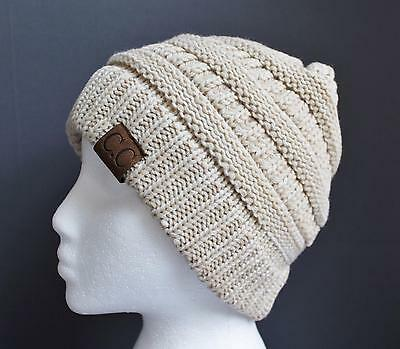 Off White Winter Beanie - Cream Off white ski hat chunky thick knit slouch cap beanie winter crochet hat