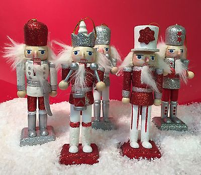 5 Traditional Nutcracker Soldiers w/ Opening Mouths ~ Christmas Tree Decoration