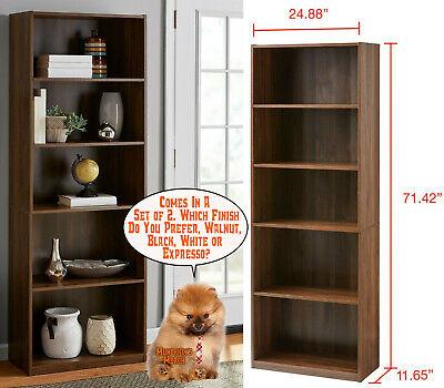 Adjustable 5-Shelf Wood Bookcase Storage Shelving Book Wide Bookshelf - Set of 2