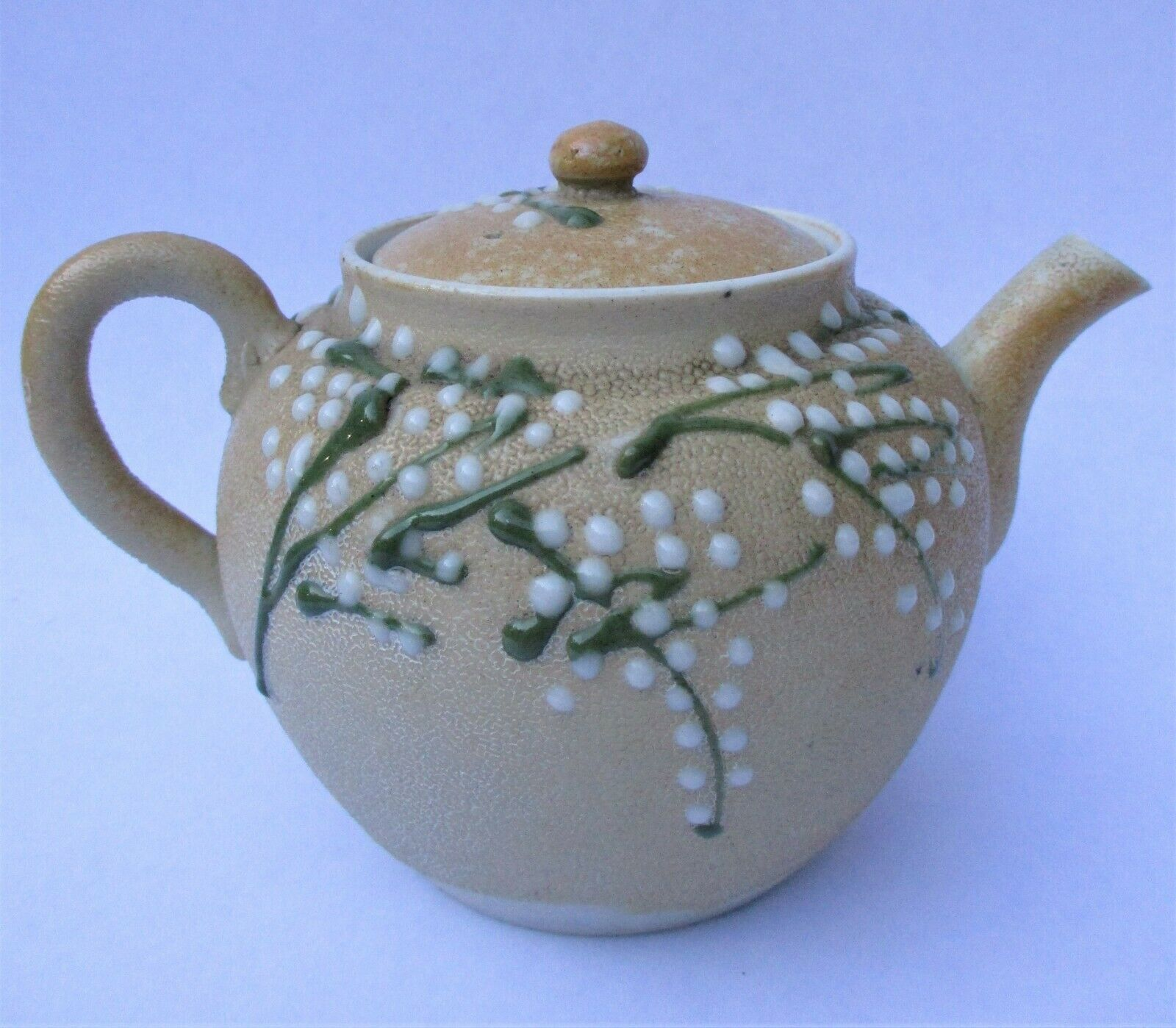 ANTIQUE JAPANESE TEAPOT BANKO POTTERY SHARKSKIN GLAZE BEADED FLORAL MORIAGE - $33.50