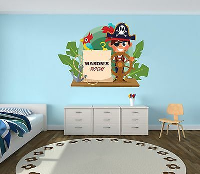 Custom Name Pirate Wall Decal Boy/Girl Room -Mural Wall Decal Sticker For Kids](Girl Pirate Names)