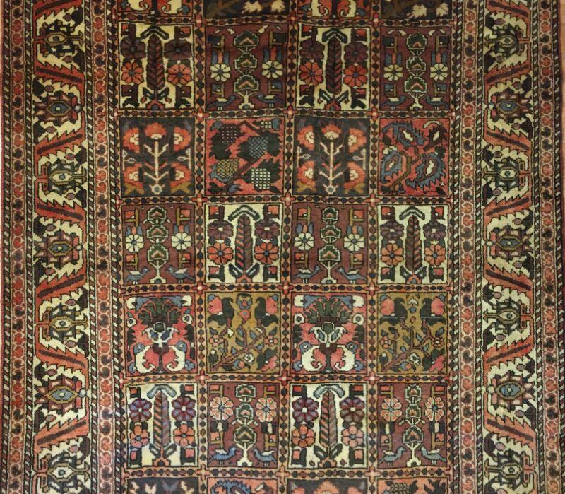 Tremendous Tribal - 1930s Antique Oriental Rug - Panel Garden - 5.7 X 9.11 Ft.