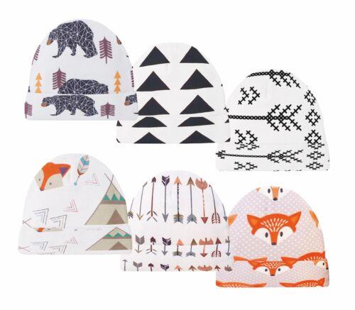 6 Pack Baby Beanies Woodland Infant Caps Bear Fox Arrow Hats Newborn Beanie Cap