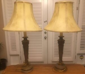 2 antique gold table lamps
