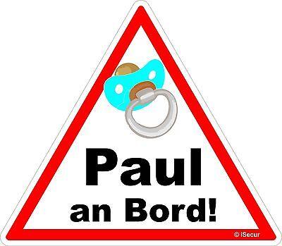 Aufkleber Paul an bord Sticker Warnung Vorsicht Baby on Board, kfz_224_paul