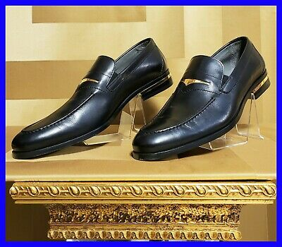 NEW VERSACE BLACK LEATHER DRIVER LOAFER SHOES with GOLD BUCKLE 44.5 - 11.5