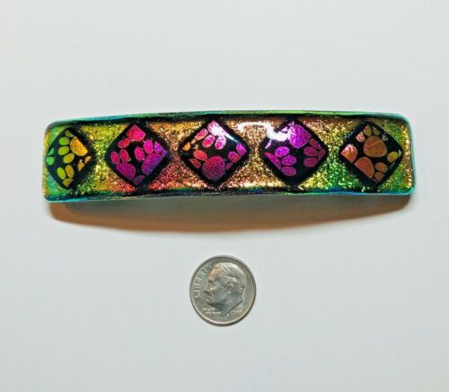 """Handmade By Janet Wolery - 4"""" Dichroic Fused Glass Barrette - PAWS ON YELLOW"""