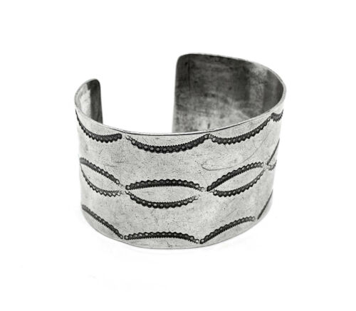 Fine Early Antique Navajo WIDE Stamped Coin Silver Cuff Bracelet 56g 20s-30s
